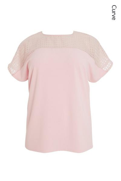 Curve Pink Check Top